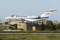 Luqa, Malta 26 September 2015: Citation landing. Air Hamburg Cessna 525B Citation CJ3 [D-CJET] landing runway 31 Stock Image