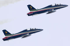 Luqa, Malta 27 September 2014: Frecce Tricolori. Royalty Free Stock Photos
