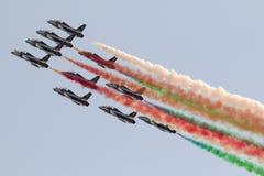 LUQA MALTA 27 September 2014: Frecce Tricolori på Malta internationella Airshow 2014 Arkivfoto
