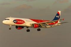 Luqa, Malta 30 September 2005: A321 het landen Royalty-vrije Stock Fotografie