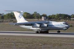 Luqa, Malta 20 September 2005: Il-76 landing. Turkmenistan Airlines Ilyushin Il-76TD landing runway 32 Stock Photography
