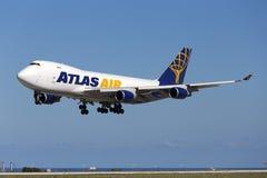 Luqa, Malta - 26. September 2015: 747 landend Lizenzfreie Stockbilder