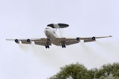 Luqa, Malta - 25 September 2015: NATO AWACS. A Boeing E-3A Sentry AWACS aircraft performing a low pass on runway 31. One the the Malta International Airshow Royalty Free Stock Images