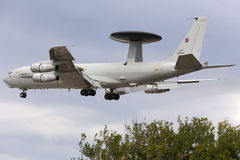 Luqa, Malta - 25 September 2015: NATO AWACS. A Boeing E-3A Sentry AWACS aircraft performing a low pass on runway 31. One the the Malta International Airshow Royalty Free Stock Photography