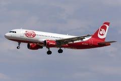 Luqa, Malta 26 September 2015: Niki A320 landing. Royalty Free Stock Images