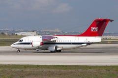 Luqa Malta September 21, 2004: R.A.F.storgubbe BAe-146 Royaltyfri Bild
