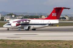 Luqa Malta September 21, 2004: R.A.F.storgubbe BAe-146 Royaltyfria Foton