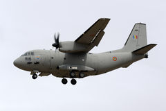 Luqa, Malta - 25 September 2015: Spartan Landing. A Romanian Air Force Alenia C-27J Spartan arriving to participate in the Malta International Airshow 2015 Stock Photography