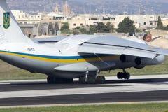 Luqa, Malta - 17 September 2015: Ukraine Il-76. Stock Photo