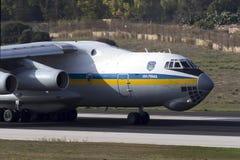 Luqa, Malta - 17 September 2015: Ukraine Il-76. Stock Image