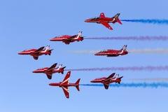 LUQA, MALTA 28 settembre 2014: Frecce rosse a Malta Airshow internazionale 2014 Fotografia Stock Libera da Diritti