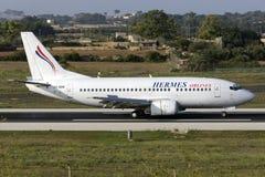 Luqa, Malta - 17 settembre 2015: Hermes 737-500 Immagine Stock Libera da Diritti