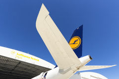 Luqa, Malta - 26 settembre 2015: Servizio A340 Fotografia Stock