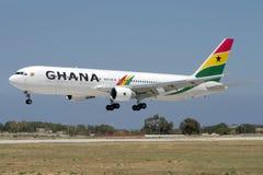 Luqa, Malte, le 20 mai 2007 : Atterrissage du Ghana 767 Photo libre de droits