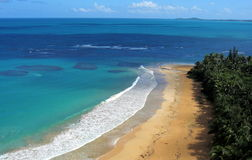 Aerial View, Luquillo Beach, Puerto Rico. Beautiful Luquillo Beach lies on the northeastern tip of the island of Puerto Rico, near he town of Luquillo Stock Image