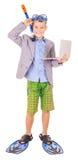 Lura bärande fena för affärsmannen, snorkla och skyddsglasögon arkivbild