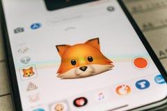 Lura den djura emojien för animojien som 3d frambrings av recognit för framsidalegitimationansiktsbehandlingen Royaltyfria Bilder
