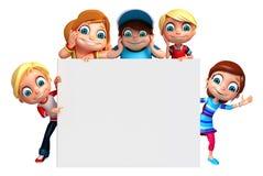 Lura flicka- och ungepojken med det vita brädet stock illustrationer