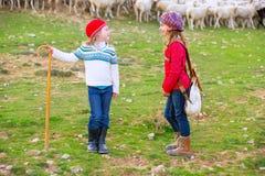 Lura flickaherdinnasystrar som är lyckliga med flocken av får och pinnen Royaltyfri Fotografi