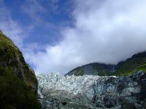 Lura glaciären, villkor i 2008, den södra ön Nya Zeeland Royaltyfria Foton