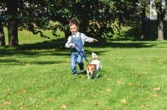 Lura pojken som spring med hunden på koppeln på parkerar gräsmatta fotografering för bildbyråer
