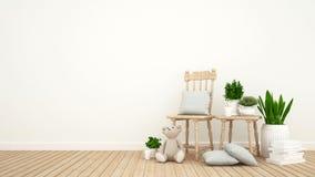 Lura rum eller vardagsrum och den inomhus trädgården - tolkningen 3D Royaltyfri Foto