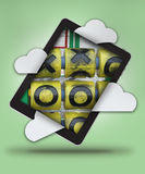 Lurar cyberlekplatsen över grön bakgrund Stock Illustrationer