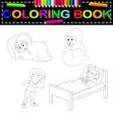 Lurar den sjuka färgläggningboken stock illustrationer