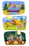 Lurar för vektorbegreppet för sommar den campa illustrationen royaltyfri illustrationer