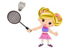 Lurar flickan som spelar isolerad badminton Arkivbild