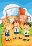 Lurar infront av skolabyggnad vektor illustrationer