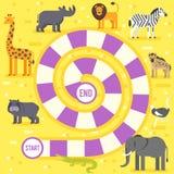 Lurar mallen för leken för zoodjurbrädet royaltyfri illustrationer