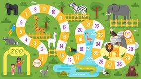 Lurar mallen för leken för zoodjurbrädet vektor illustrationer