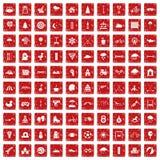 100 lurar röd fastställd grunge för leksymboler Fotografering för Bildbyråer