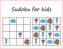 lurar sudoku Lek för förskole- ungar, utbildande logik Arbetssedel för barn stock illustrationer