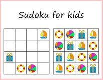 lurar sudoku Lek för förskole- ungar, utbildande logik Arbetssedel för barn vektor illustrationer