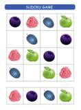 lurar sudoku Ungeaktivitetsark Utbildningslogik, bildande lek Sudoku lek med frukter och b?r vektor illustrationer