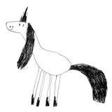 Lurar teckningen av en gullig magisk enhörning Arkivfoto