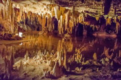 Luray Caverns, Virginia. This is an image of Luray caverns in Virginia with stalactites above Royalty Free Stock Photo