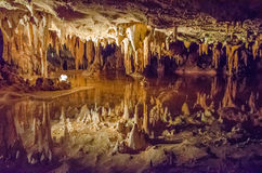 Luray Caverns, Virginia. This is an image of Luray caverns in Virginia with stalactites above Royalty Free Stock Image