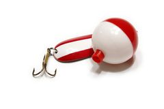 Lure and Bobber. Picture of the red and white lure and bobber isolated on the white background Stock Images