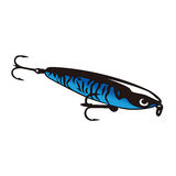 Lure for fishing. Blue shining lure with hooks for fishing Stock Photography