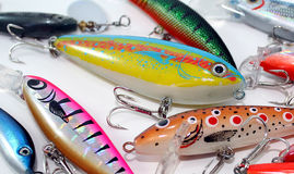 Lures. A bright assortment of fishing lures Royalty Free Stock Photography