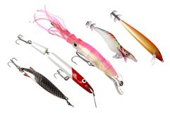 Lures. Saltwater fishing lures isolated on white background Royalty Free Stock Images