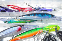 Lures. Colorfull fishing lures in a box Royalty Free Stock Images