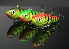 Lures. Fishing lures isolated on black Stock Photos