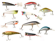Lures. Isolated fishing baits and lures Royalty Free Stock Photography