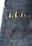 Lures in a pocket. Some lures and baits in a jeans`s pocket Royalty Free Stock Photos