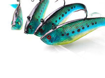 Lures with sharp hooks Stock Photo