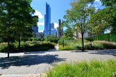 Lurie Gardens in Millennium Park. May be used to advertise for tourist ad to visit millennium park in Chicago Royalty Free Stock Photography